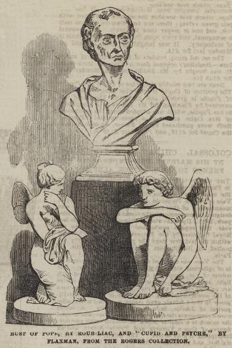 Bust of Pope, by Roubiliac, and Cupid and Psyche, by Flaxman, from the Rogers Collection Lámina giclée