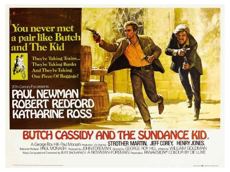 Butch Cassidy and the Sundance Kid, UK Movie Poster, 1969 Art Print
