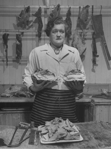 Butcher Rationing the Amount of Meat Sold to the Customers Because of the Postwar Meat Shortage Photographic Print