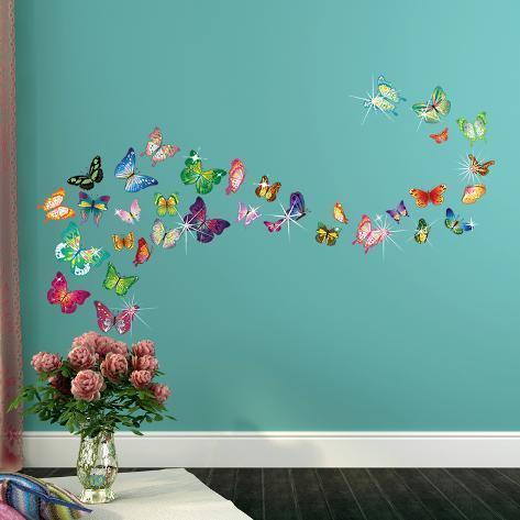 Butterflies with Swarovski Crystal Accents Adesivo de parede