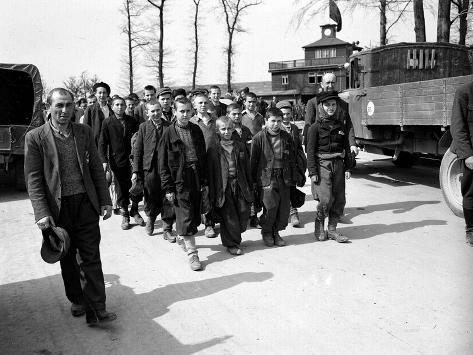 WWII Buchenwald Freed Prisoners Stretched Canvas Print