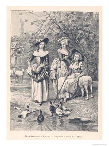 Marie Antoinette Depicted at the Petit Trianon Versailles Playing at Being a Shepherdess Giclee Print