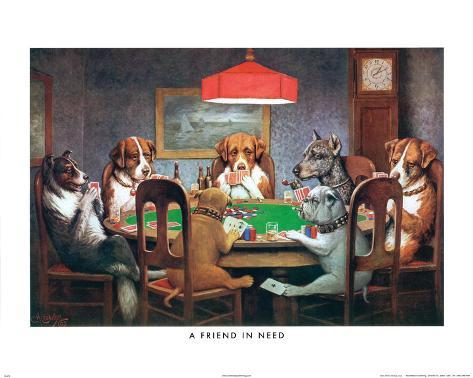 C.M. Coolidge A Friend in Need Dogs Playing Poker Art Print Poster Mini Poster