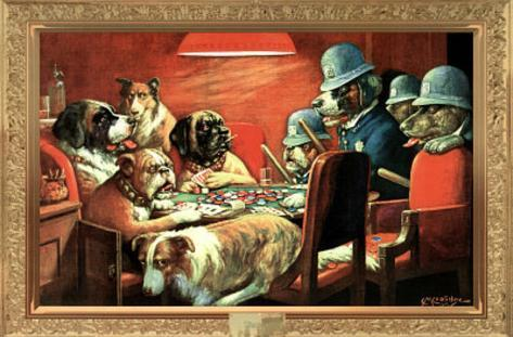 C. M. Coolidge (Pinched with Four Aces, Dogs Playing Poker) Art Poster Print Poster