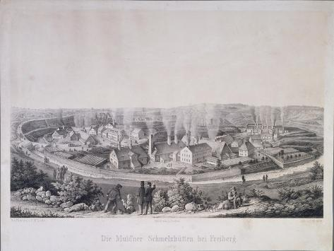 View of Smelting Works at Muldenhuetten Near Freiberg, Saxony, Engraved by Carl Wilhelm Arldt,… Giclee Print