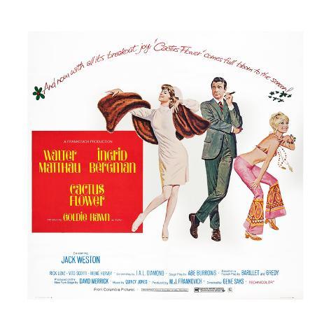 Cactus Flower, Ingrid Bergman, Walter Matthau, Goldie Hawn, 1969 Lámina