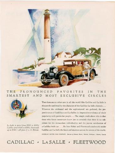 Cadillac La Salle, Magazine Advertisement, USA, 1929 Giclee Print