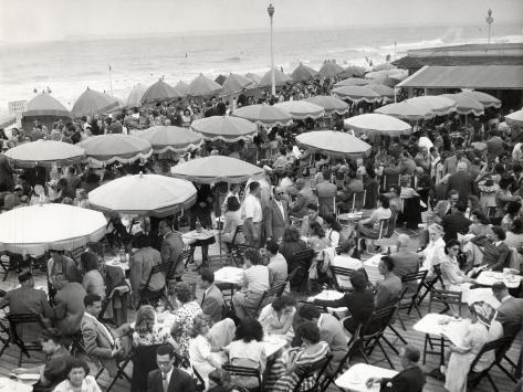 Café Terrace in Deauville, France (1948) Photographic Print