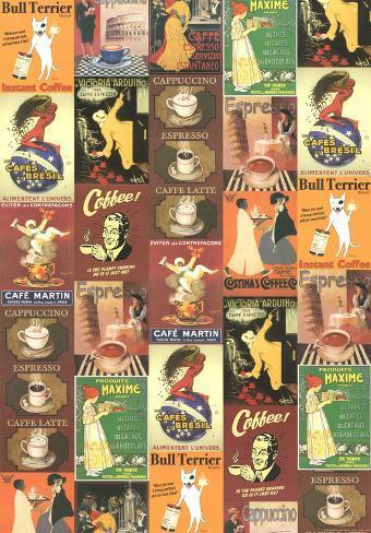 Caffe, vintage kahvimainos, julistekollaasi Juliste