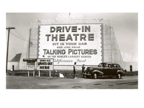 California's First Drive-In Movie Theater Art Print