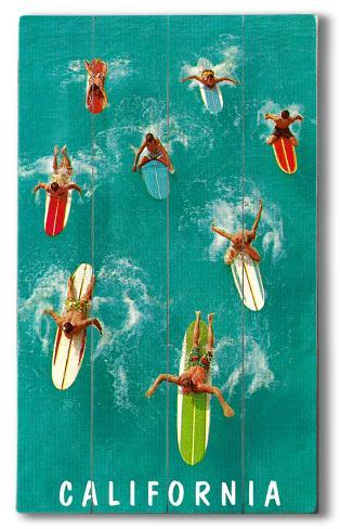 California Surfer Wood Sign