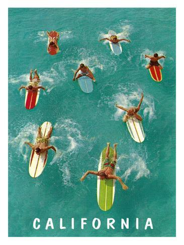 California Surfing Giclee Print