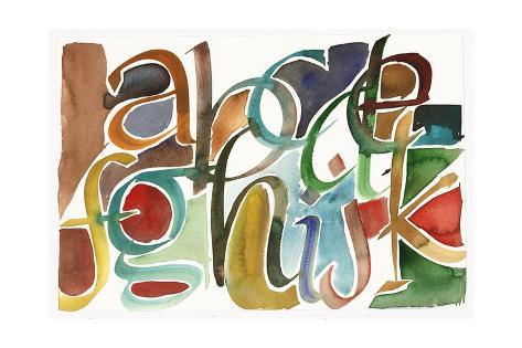 Calligraphic Watercolor Partial Alphabet Art Print