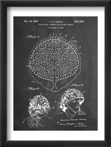 Camouflage Military Helmet Patent Framed Art Print