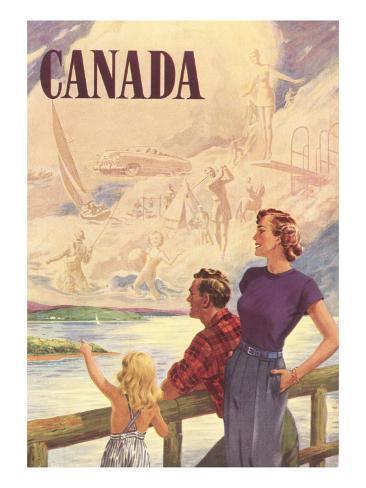 Canada Family on Bridge Art Print