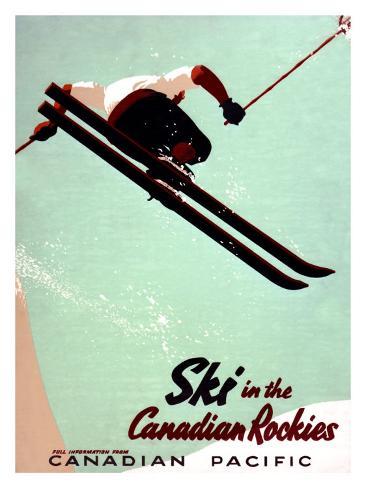 Canadian Pacific Snow Ski Rockies Giclee Print