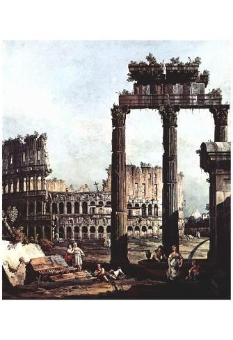 Canaletto (I) (Capriccio Romano, Colosseum with the ruins of the temple of the Vespian) Art Poster Poster