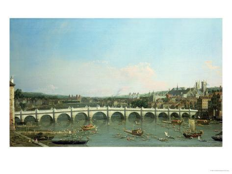 Westminster Bridge from the North with Lambeth Palace in Distance Giclee Print