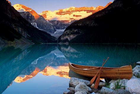 Canoe On Lake Louise Poster