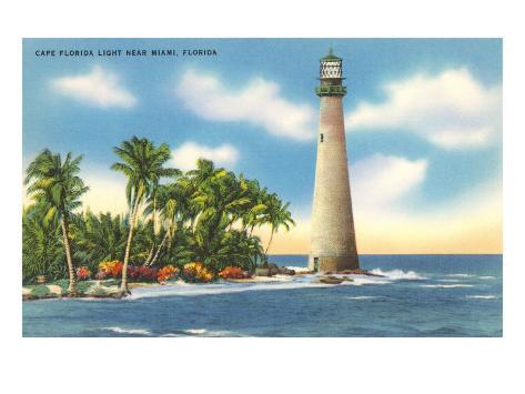 Cape Florida Lighthouse, Miami, Florida Art Print