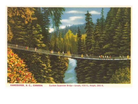 Capilano Bridge, Vancouver, British Columbia Art Print