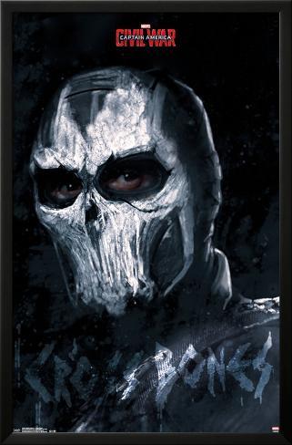 Captain America Civil War- Cross Bones LAMINAフレーム入りポスター