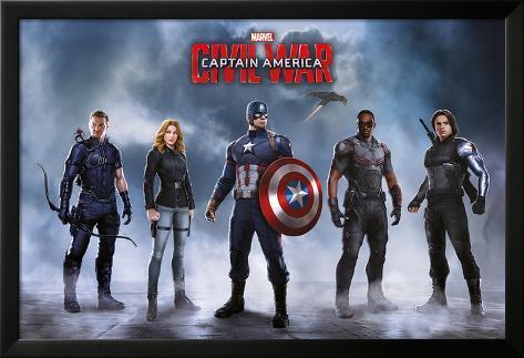 Captain America Civil War- Team Captain America Poster con cornice e pellicola protettiva