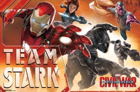Captain America Civil War- Team Stark In Action LAMINAフレーム入りポスター