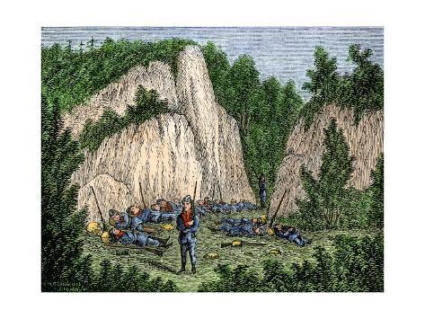 Captain Mason's Militia Camped Near Porter's Rocks, Groton, Connecticut, in the Pequot War, 1630s Stretched Canvas Print