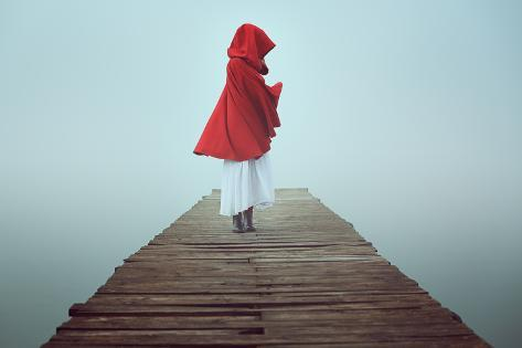Dark Little Red Riding Hood in the Mist . Dream and Surreal Colors Photographic Print