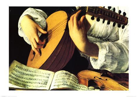 Lute Player, c. 1600 (detail) Art Print