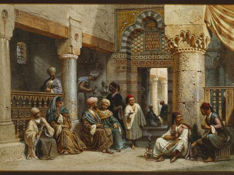 Arabic Figures in a Coffee House, 1870 Giclee Print