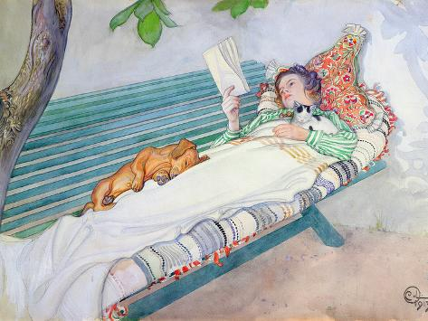Woman Lying on a Bench, 1913 Gicléetryck