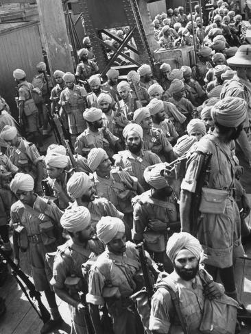 The Indian Sikh Troops from Punjab, Boarding the Troop Transport in the Penang Harbor Photographic Print