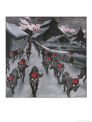 The Red Guard, the Communists Depicted as a Pack of Wolves Ravening with Glowing Eyes Giclee Print