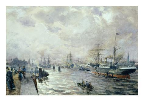 Sailing Ships in the Port of Hamburg, 1889 Giclee Print
