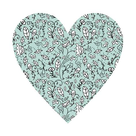 Blue Flower Heart Giclee Print