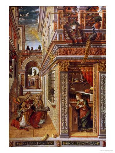 The Annunciation with St. Emidius, 1486 Giclee Print