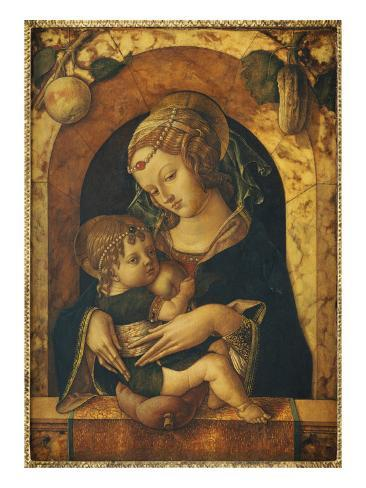 Madonna And Child Painted On Wood Value
