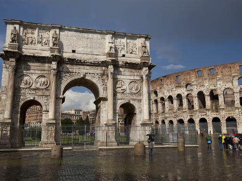 The Arch of Constantine With the Colosseum in the Background, Rome, Lazio, Italy Photographic Print