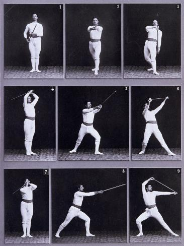 Jager Exercises, a Succession of Physical Exercises Using a Staff Photographic Print
