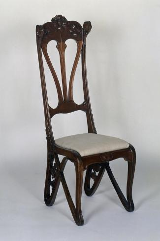 art nouveau style high backed chair carved with floral motifs giclee