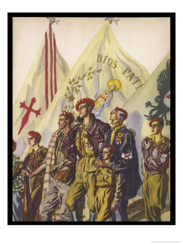 Young and Old Stand Together with Pride as Members of the Requetes the Carlist Militia Movement Giclee Print