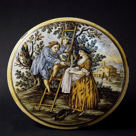 Plate with Painted Figures Giclee Print