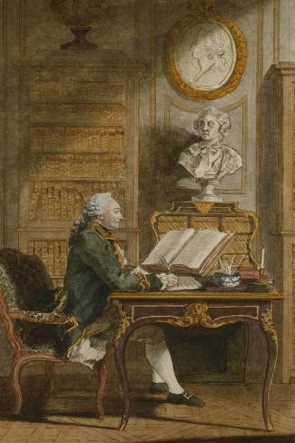 Monsieur De Cormainville in His Library, Writing at His Desk Lámina giclée