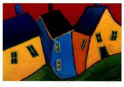Three Crooked Houses Collectable Print