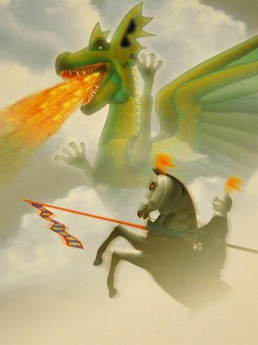 Businessman-Knight Fighting Dragon Photographic Print