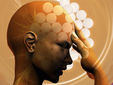 Concept of a Woman with a Headache and Aspirin Tablets Photographic Print
