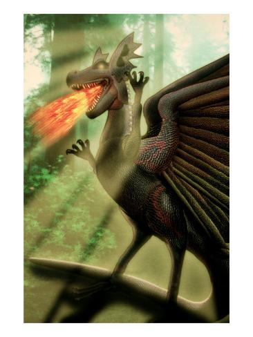 Fire-Breathing Dragon Giclee Print