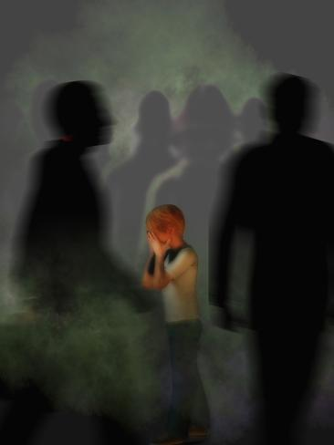 Frightened Child Lost in a Crowd of Indifferent Adults Suggesting Child Abuse or Mistreatment Photographic Print